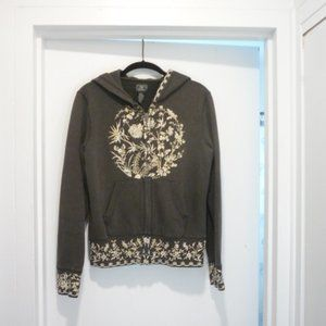 Lucky Brand Olive Green Hoodie with Embroidery